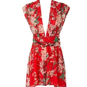 Red flora romper playsuit multiple ways to wear